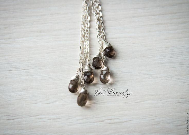 """Купить Длинные серебряные серьги раухтопаз """"Поющие под дождем"""" 925 проба - серьги из серебра"""