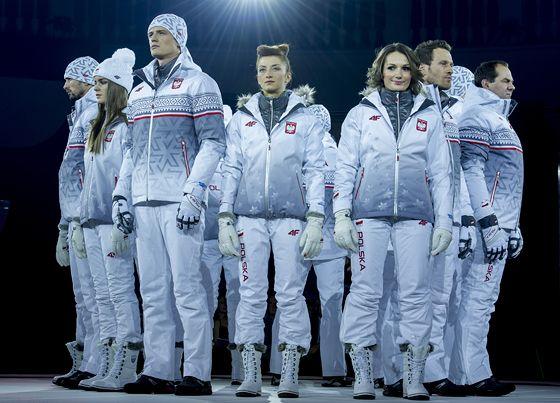 Team Poland Olympic Uniform for Sochi 2014  POLAND! SOCHI 2014!  Like the combination of the colors. Grayish metallic white. Futuristic.