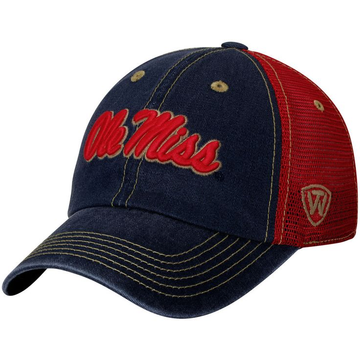 Ole Miss Rebels Top of the World Past Trucker Adjustable Hat - Navy/Red