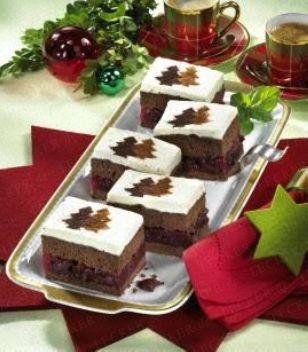 Lebkuchen-Biskuit-Schnitten mit Kirschkompott (Diabetiker)