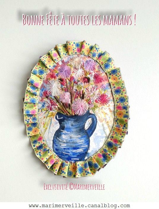 Médaillon Marimerveille- Fleurs - aquarelle brodée A