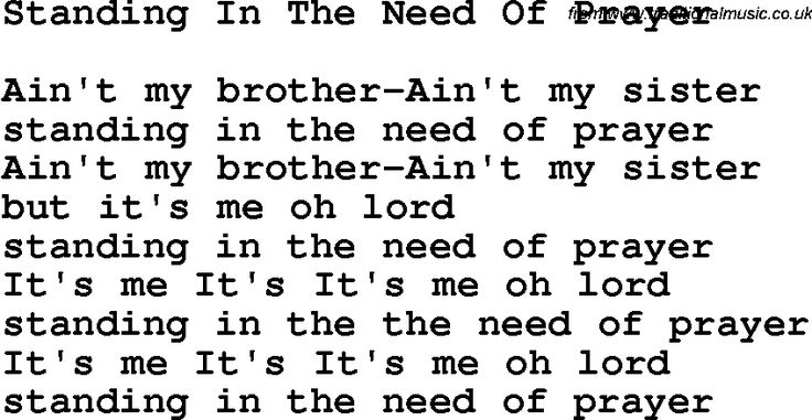 Country, Southern and Bluegrass Gospel Song Standing In