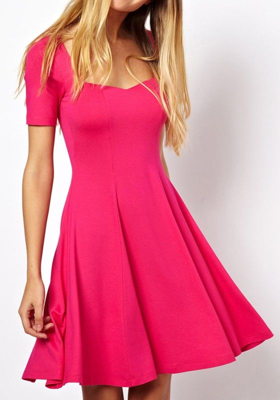 Rose-Carmine Plain U-neck Wrap Cotton Blend Dress. Love the shape, maybe if it was a different color!