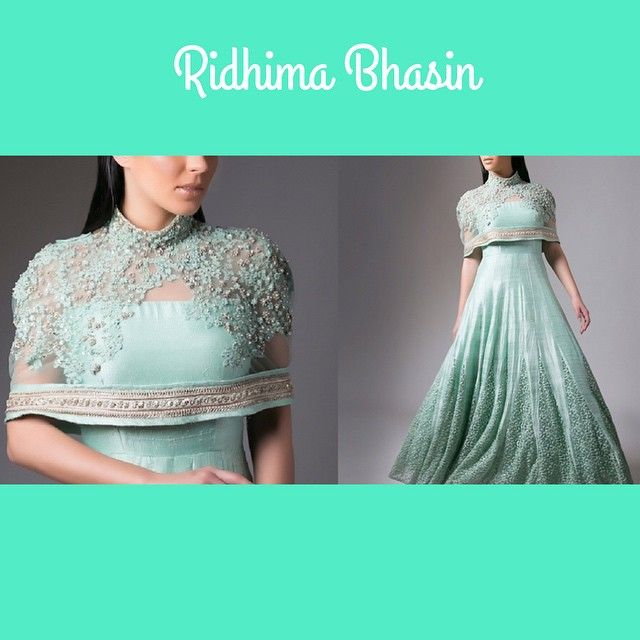 """""""How gorgeous is this aqua blue anarkali dress with attached cape by…"""