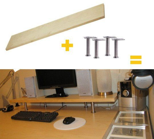 EKBY JARPEN SHELF ($14.99) + CAPITA legs ($10/4-Pack) = Monitor Shelf TOTAL COST: $24.99 ONE STEP: Screw one leg on to each of the four corners of the shelf.