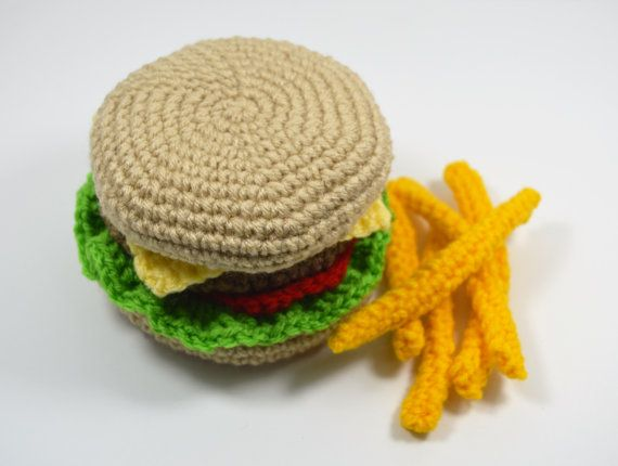 Hambuger Play Food Pretend Play Kitchen Food Fast by WhimzyDesigns
