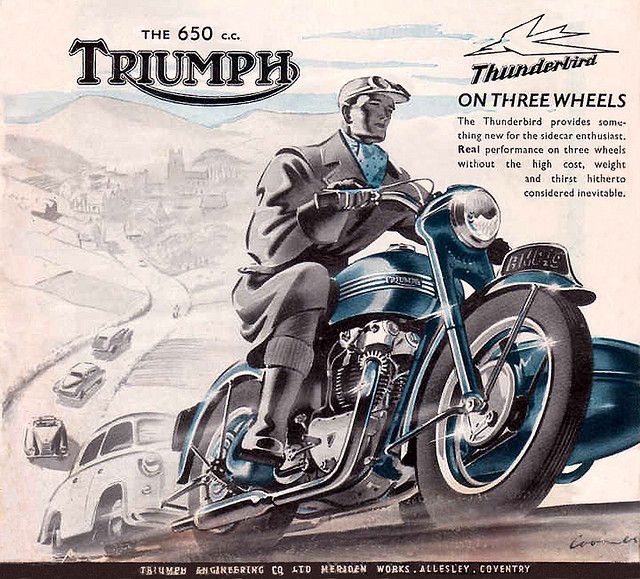 Vintage Triumph with Sidecar Ad                              …