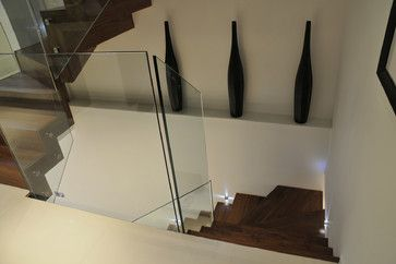 Ways to decorate an open ledge or shelf: clean contemporary solution - 3 tall vases.