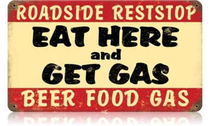 Vintage and Retro Wall Decor - JackandFriends.com - Retro Eat Here Get Gas Tin Sign, $35.97 (http://www.jackandfriends.com/vintage-eat-here-get-gas-metal-sign/)