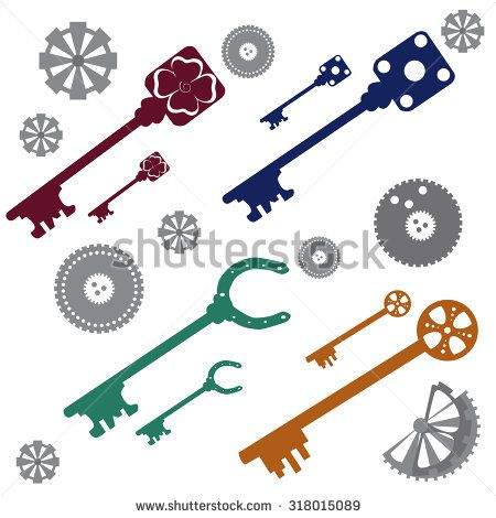 keys and gears - stock vector