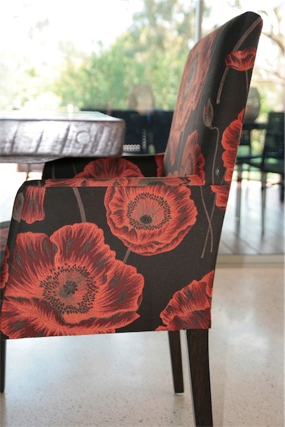 Custom made dining chair in orange flower fabric