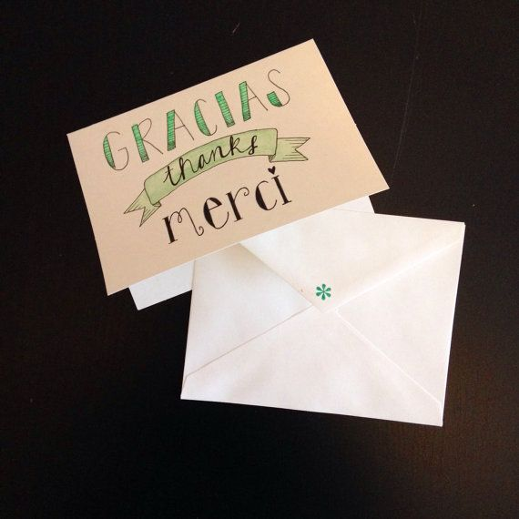 Set of 4 Thank You Cards by DecafDoodles on Etsy
