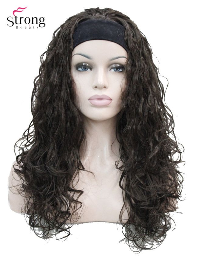 d8b313bfa1a StrongBeauty Long Curly Black Brown Blonde Headband Synthetic Wig ...