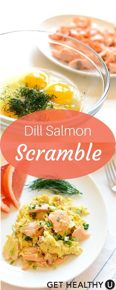 The healthy dill salmon scramble uses farm fresh eggs, leftover salmon, dill and a delightful greek yogurt topping. Packed with protein and flavor, this recipe comes together in just 10 minutes!