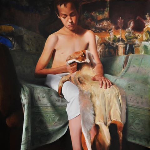 The boy with skin fox,250X200cm,oil on canvas,2012 #sergiutoma #art #contemporaryart  #artist