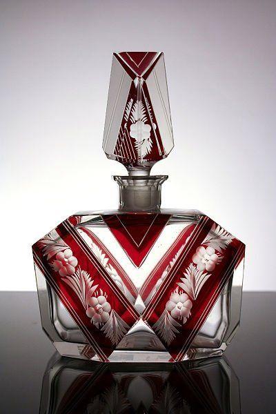 Flakon na parfém * broušené sklo * Bohemia ***