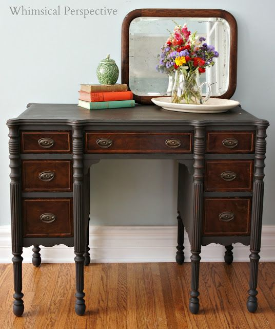 A Beautiful Desk Finished In Graphite Chalk Paint® Decorative Paint By  Annie Sloan | Whimsical