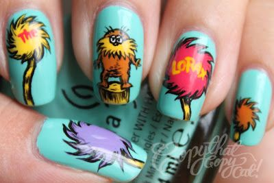Dr Seuss' Lorax nails. Aren't they just the cutest?Chocolates Trifles, Copy Cat, Nails Art Ideas, Nailart, The Lorax, Earth Day, Cartoons Nails, Dr. Suess, Lorax Nails