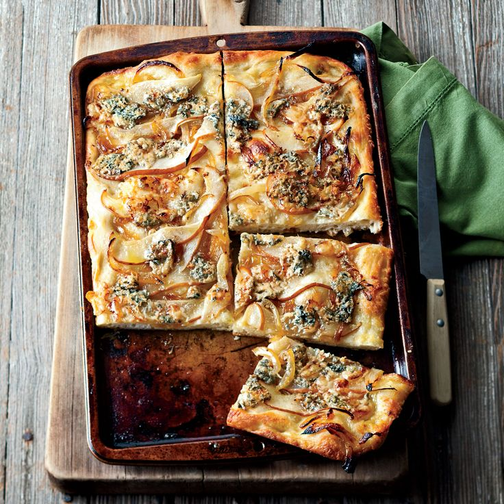 Focaccia with Caramelized Onions, Pear and Blue Cheese | Food & Wine