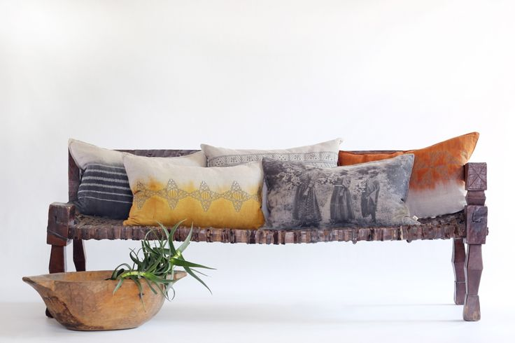 Beautiful bench with Evolution cushions from the Varied Origins range