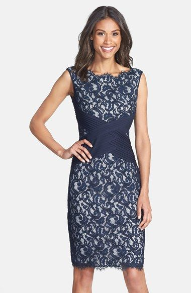 Free shipping and returns on Tadashi Shoji Crisscross Waist Lace Sheath Dress at Nordstrom.com. Pleated bands intersect at the waist of a lace cocktail dress to accentuate its classic hourglass silhouette. For a delicate touch of femininity, eyelash fringe brushes the scalloped neck and hem.