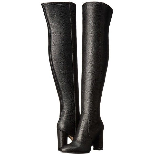 MICHAEL Michael Kors Sabrina Boot (Black Tumbled Leather/Stretch... ($325) ❤ liked on Polyvore featuring shoes, boots, over-the-knee boots, stretch-leather boots, black thigh-high boots, over the knee boots, leather thigh boots and black over the knee boots