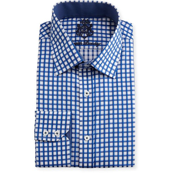 English Laundry Checked Cotton Dress Shirt ($46) ❤ liked on Polyvore featuring men's fashion, men's clothing, men's shirts, men's dress shirts, navy, mens navy blue dress shirt, mens navy blue shirt, men's spread collar dress shirts, mens cotton dress shirts and mens checked dress shirts