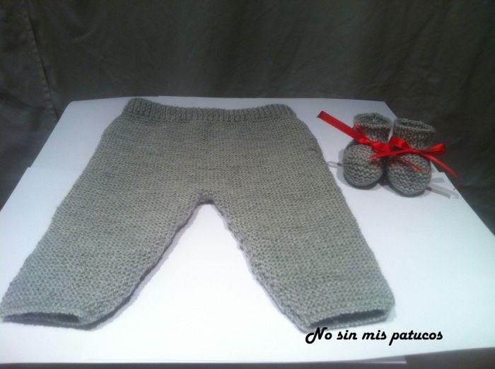PANTALON BEBE PUNTO DOS AGUJAS PATRON