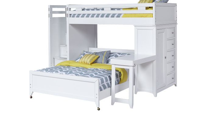 Bunk Beds Rooms To Go Ivy League White Twin Full Step Loft Bunk With Chest And Desk 3753281p Girls Bunk Beds Bunk Bed Designs Bunk Bed Rooms