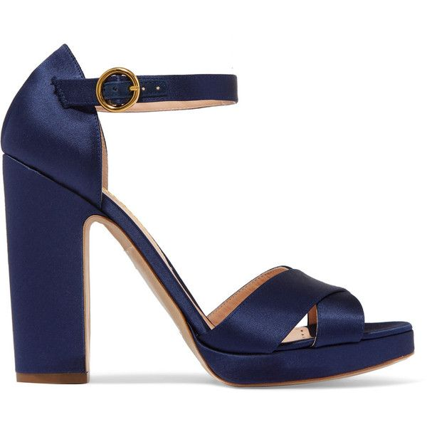 Rupert Sanderson Savanna satin sandals ($695) ❤ liked on Polyvore featuring shoes, sandals, navy, satin sandals, high heeled footwear, navy satin shoes, high heel shoes and navy blue strappy sandals