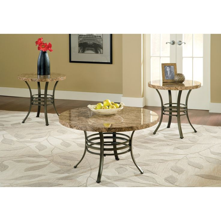 Steve Silver Collison Round Faux Marble Coffee Table Set - SSC1808