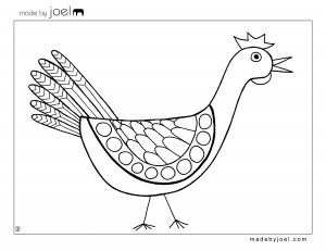 "Retro coloring sheets. ""Made by Joel Chicken Coloring Sheet Free Printable Template"""