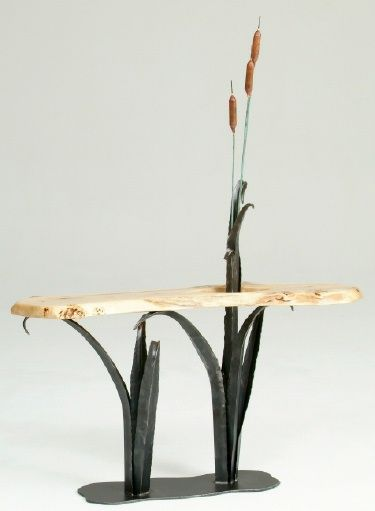 Forge Cattails With Organic Slab From Woodland Creek Furniture 1595 Love How The Metal Tableswood