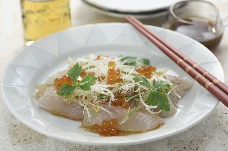 鯛の和風カルパッチョ | ドレッシングの隠し味に柚子コショウがきいているのでさっぱり頂けます。