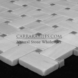 Floor tile:  Carrara Marble Italian White Bianco Carrera Basketweave Mosaic Tile with Bardiglio Gray Dots Honed