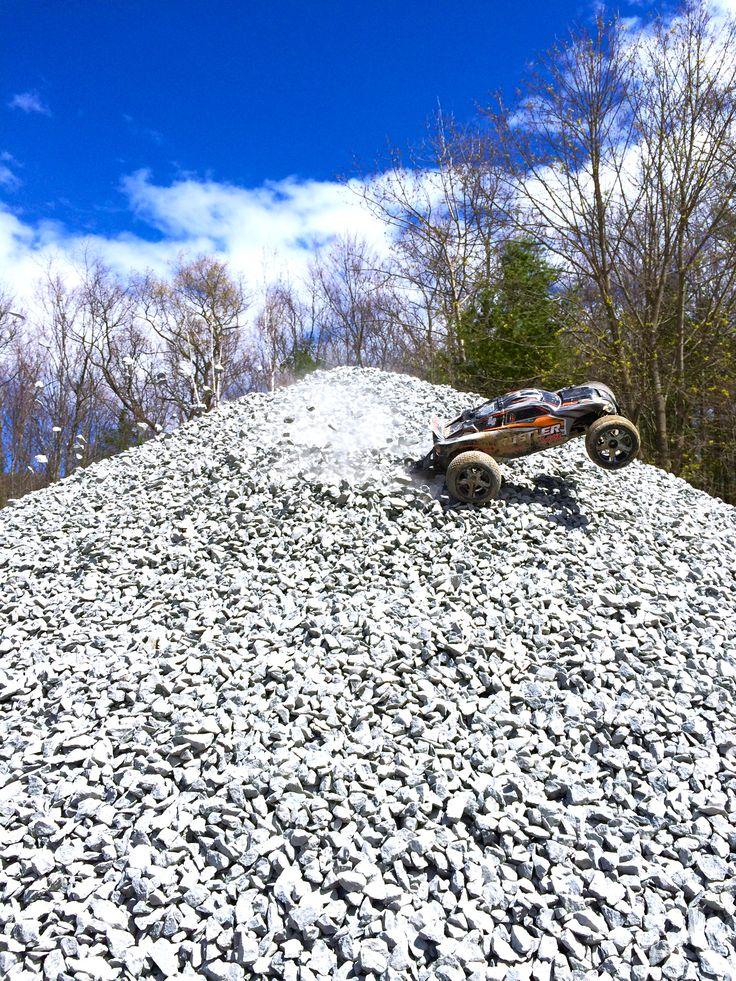 Traxxas Rustler VXL kickin' some gravel!