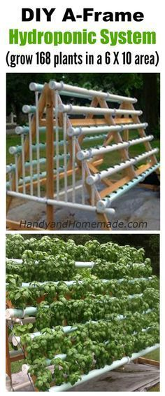 DIY A-Frame Hydroponic System, How To Grow 168 Plants In A 6 X 10 Area                                                                                                                                                                                 More #hydroponicgardens