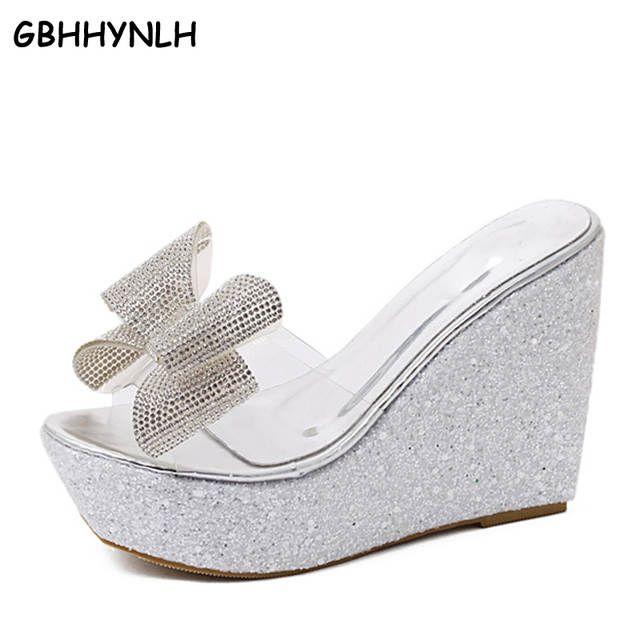 Gbhhynlh Bowtie Mujer Playa Flip Flops Verano Pom Sandalias Claro Zapatos De Plataforma De Diamantes De Imitaci Rhinestone Sandals Clear Shoes Pom Pom Sandals