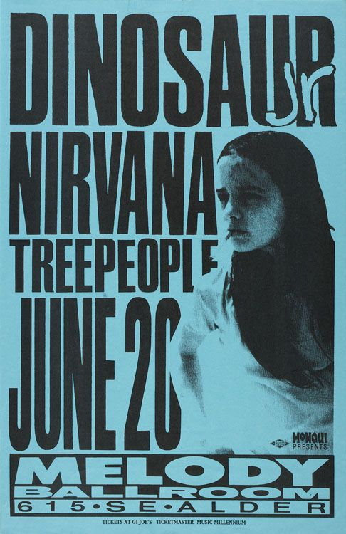 """youremyvitamins: """"On today (June 20) in 1991 Nirvana play at the Melody Ballroom in Portland, OR. This was the last show of Nirvana's small tour (8 shows) with Dinosaur Jr as support. """""""
