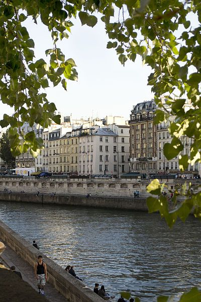 """Quai des Grands Augustins seen from Quai des Orfèvres, Paris. This view doubled as the view from Maigret's office in """"Maigret Sets a Trap"""""""