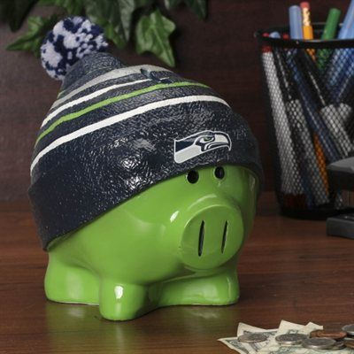 seattle seahawks money piggy banks   Seattle Seahawks Large Piggy Bank With Hat