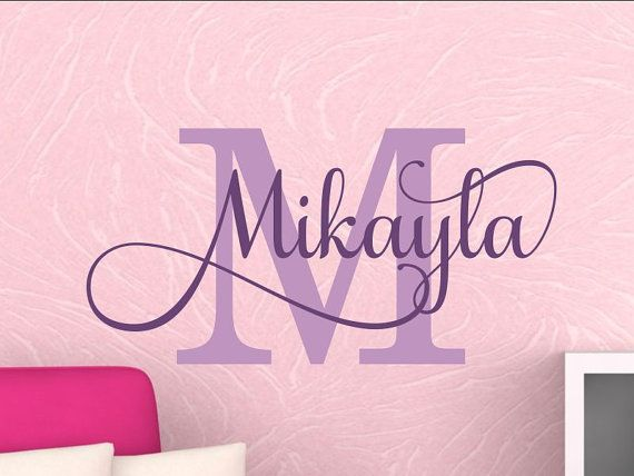 Nursery Wall Decal Name Girls Name Wall Decal Personalized Bedroom Name Wall Decal Nursery Monogram Vinyl Lettering Kids Room 6 sizes