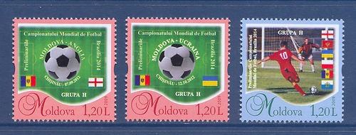 MOLDOVA. Personalized stamps FIFA World Cup Qualifiers, Brazil - 2014. 3v MNH