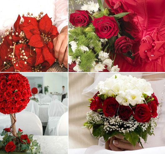 winter wedding ideas and decorations   Beautiful Red Winter Wedding Flower Ideas