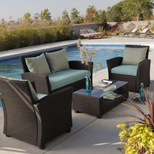 Delphi All Weather Chocolate Wicker Conversation Set By Coral Coast.  $1299.99. Vibrant Aqua Cushions. Outdoor Wicker FurniturePatio ... Part 57