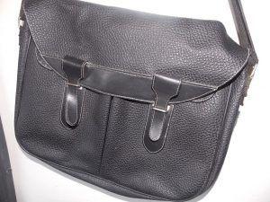 Sac Paquetage vintage gibecière cuir et synthétique noir…