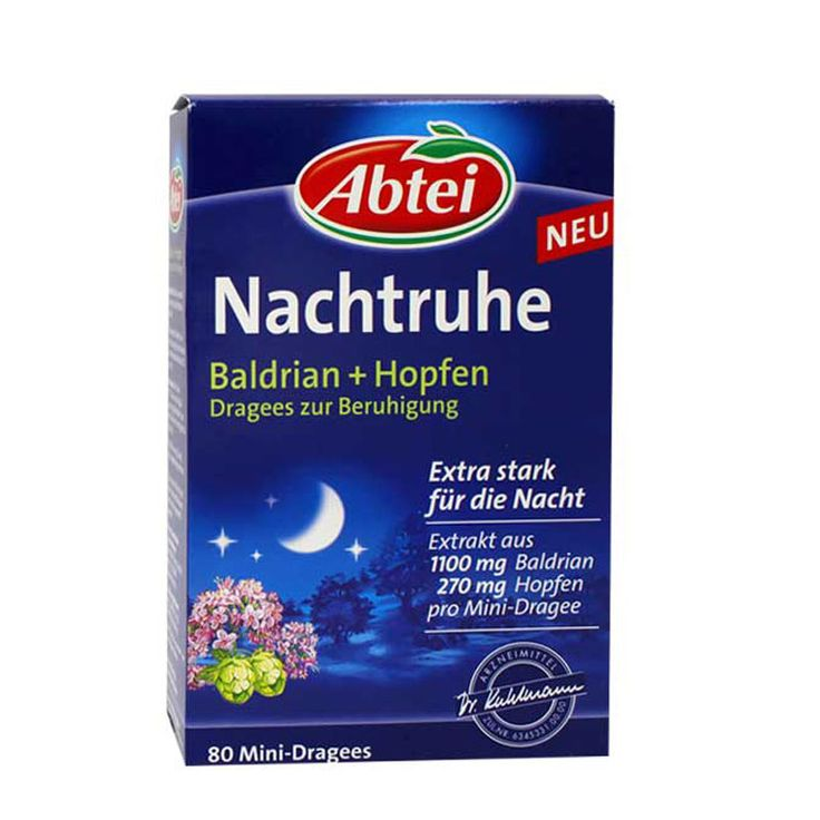 Nachtruhe Baldrian Hopfen Dragees zur Beruhigung Natural Valerian tablets 80 mini-dragees Free shipping #Affiliate