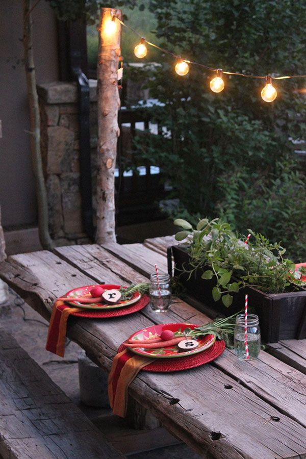 A neat diy way to light up your next outdoor dinner party