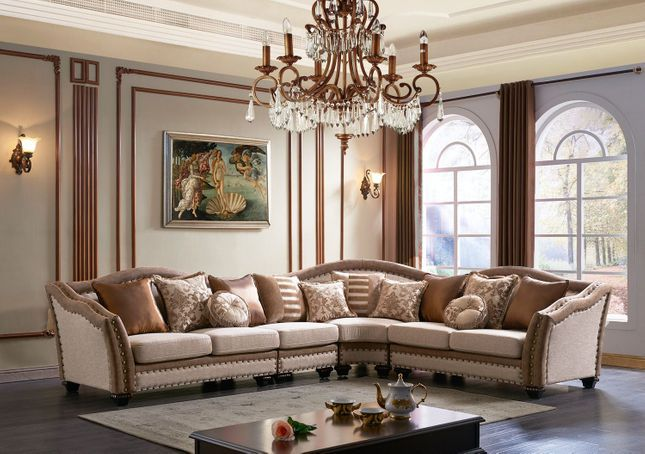 Chateau Formal Traditional Living Room Furniture Sectional Sofa Neutral Fabric Sectional Sofa Fabric Sectional Sofas Traditional Living Room Furniture