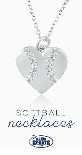 Softball Heart Pendant Necklace